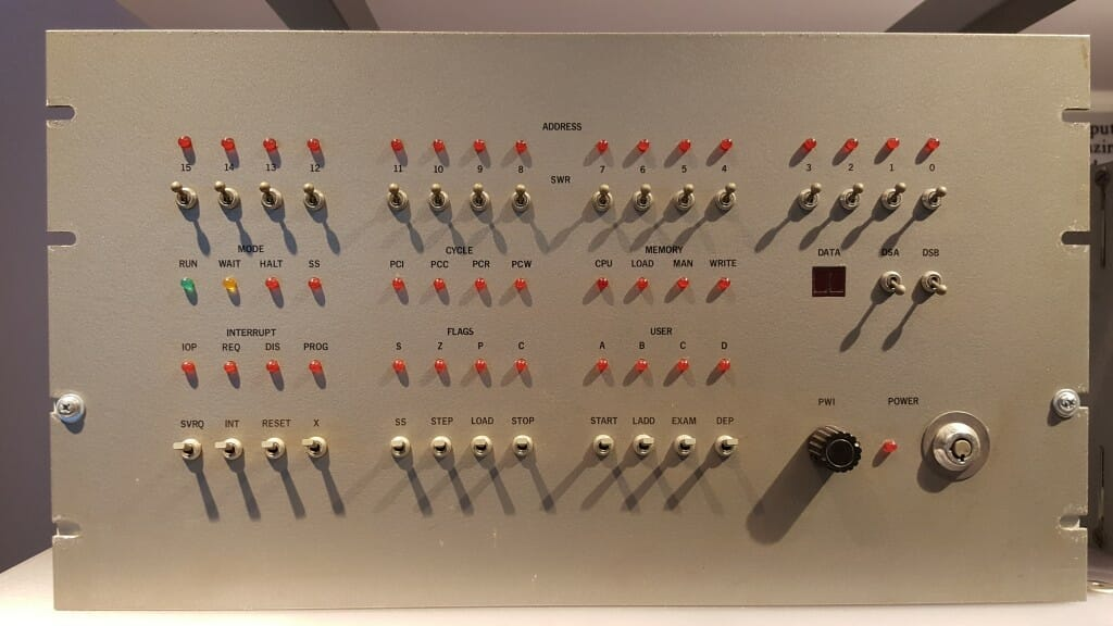 The front panel of my 8008 system (Oct, 1974) as seen in the Computer History Museum during a May, 2015 visit.