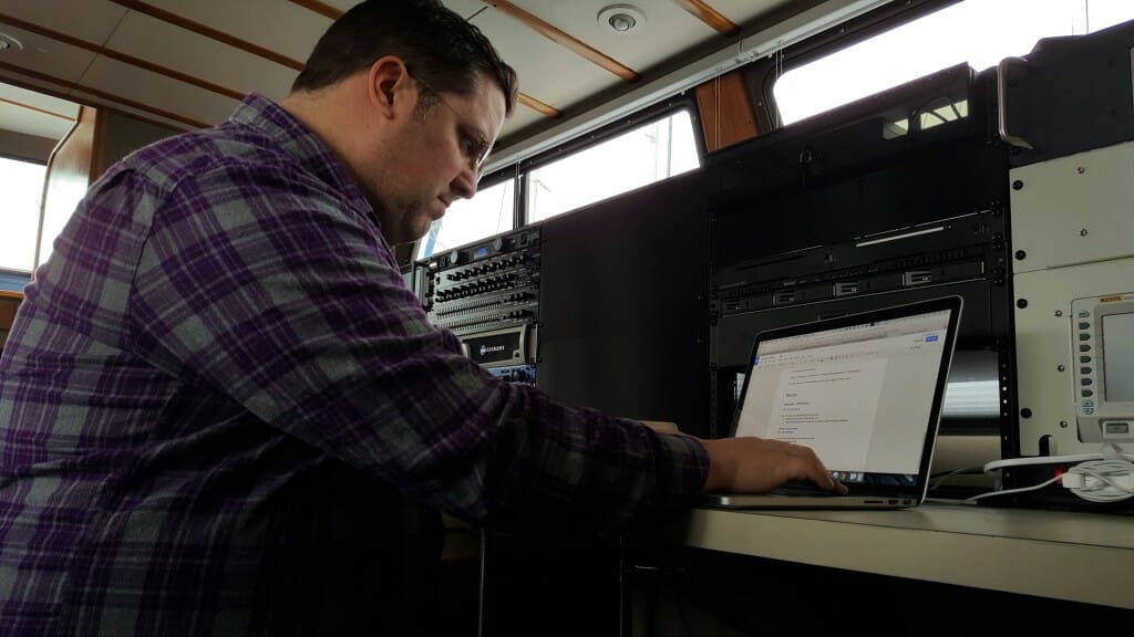 My friend Steve Mitchell aboard Datawake during the epic server migration