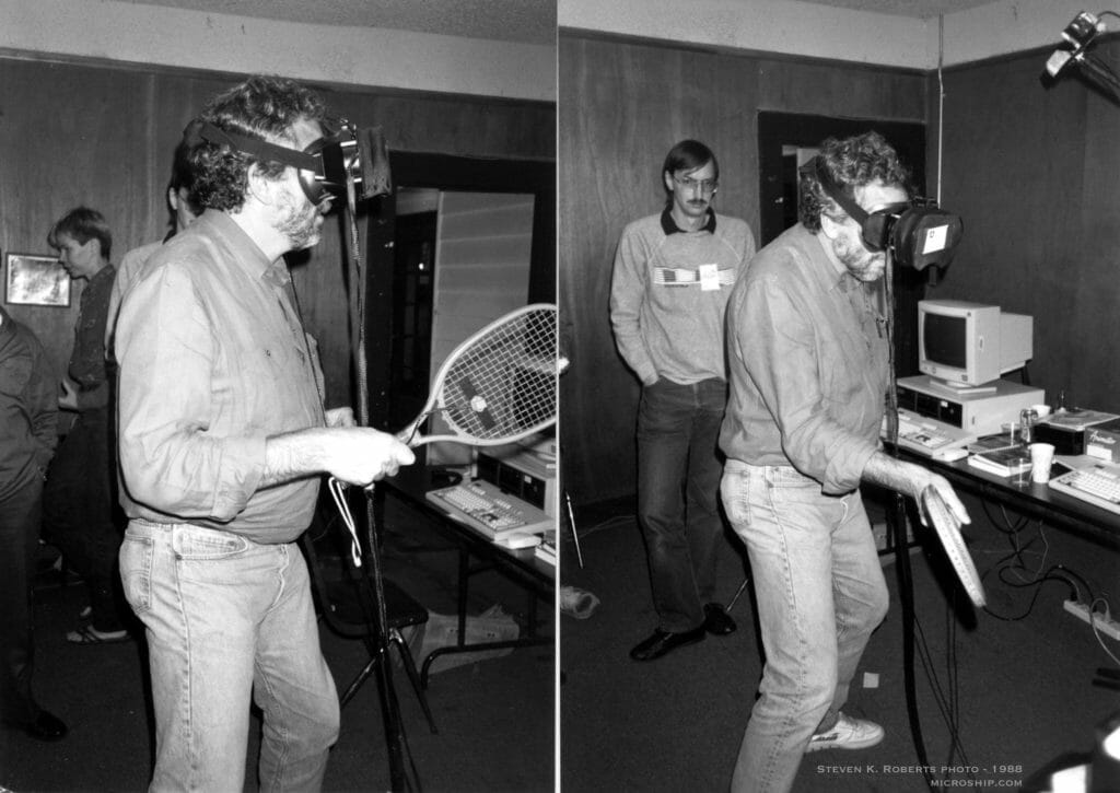 Nolan Bushnell using EyePhone in 1988, Larry Wall looking on